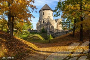 Cesis castle ruins garden in autumn